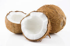 Ripe and mouth-watering coconut. Ripe and appetizing coconut isolated on white background Stock Photography