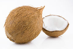 Ripe and mouth-watering coconut. Ripe and appetizing coconut isolated on white background Royalty Free Stock Photo