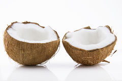 Ripe and mouth-watering coconut. Ripe and appetizing coconut isolated on white background Stock Photo