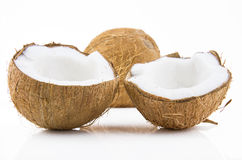Ripe and mouth-watering coconut. Ripe and appetizing coconut isolated on white background Royalty Free Stock Photos