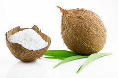 Ripe and mouth-watering coconut. Ripe and appetizing coconut  on white background Stock Photo
