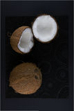 Ripe and mouth-watering coconut. Isolated on a black background Royalty Free Stock Images