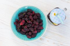 Mulberry on a table Royalty Free Stock Photo