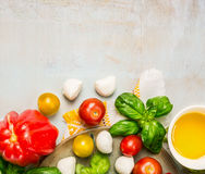 Ripe multicolor tomatoes, mozzarella balls with basil leaves and oil in white bowl on rustic wooden background, top view royalty free stock photos