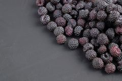 Ripe natural black raspberries on dark background. Close-up view. Copy space for text Stock Images