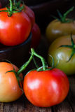 Ripe natural tomatoes with leaves Royalty Free Stock Photo