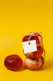 Ripe nectarine with label on the yellow Stock Photography
