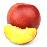 Ripe nectarine with slice Royalty Free Stock Photography