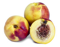 Ripe nectarines on a white background Stock Images