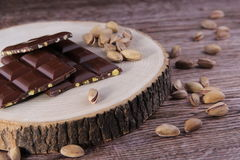 Ripe Nuts and Chocolate. Concept and Decoration royalty free stock photography