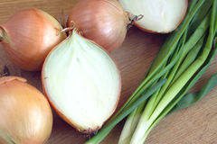 Ripe onion bulbs and chives closeup Stock Photography