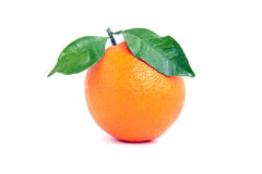 Ripe orange. Side view of ripe orange with green leaves on white background Stock Photo