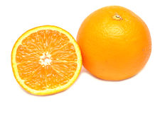 Ripe Orange And Its Half Stock Images