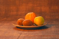 Orange, apple, kiwi. Organic food. stock images