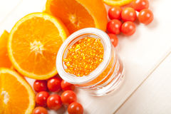 Ripe orange and bath salt for Spa Stock Images