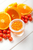 Ripe orange and bath salt for Spa Stock Image