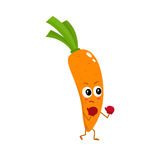 Ripe orange boxing carrot with big eyes and serious face Stock Photo