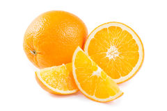 Ripe orange fruit and his segments Royalty Free Stock Images