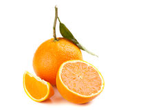 Ripe orange fruit with leaf Stock Images