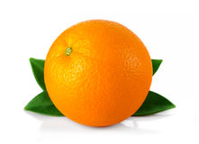 Ripe orange fruit with leaves isolated on white Royalty Free Stock Photo