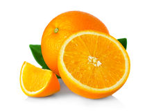 Ripe orange fruit with leaves and slices isolated on white Stock Photos