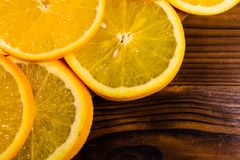 Orange fruits on wooden table. Top view. Ripe orange fruits on a wooden table. Top view Royalty Free Stock Photo
