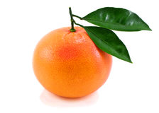 Ripe orange with green leaf. Royalty Free Stock Photography