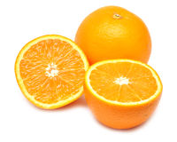 Ripe orange and its half Stock Images