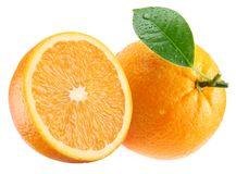 Ripe orange and its half with leaf. Royalty Free Stock Image