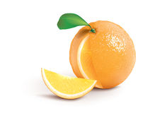 Ripe orange with a jucy slice Stock Images