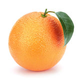 Ripe orange with leaf. Ripe orange with leaf isolated on the white background, clipping path included Royalty Free Stock Photo