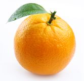 Ripe orange with leaves Royalty Free Stock Photo