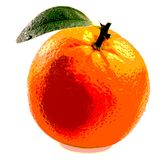Orange with leaf. Ripe orange with leaves on white background Royalty Free Stock Image