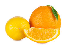 Ripe orange and lemon Royalty Free Stock Photography