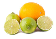 Ripe orange and lime Stock Photos
