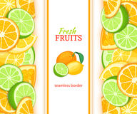 Ripe orange lime lemon vertical seamless border. Vector illustration card with composition Juicy fresh fruits slice. Leaf for design tea, ice cream, natural stock illustration