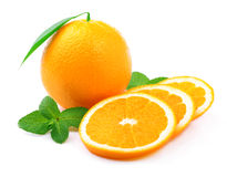 Ripe orange and mint . Royalty Free Stock Images