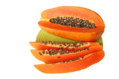 Ripe orange papaya on a plate Stock Photography