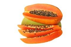 Ripe orange papaya on a plate Stock Photography