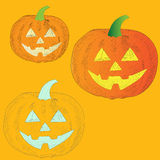 Ripe orange pumpkin vegetable halloween frightening Royalty Free Stock Photos