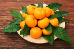 Ripe orange tangerines with green leaves in plate Stock Images