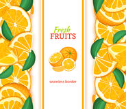 Ripe orange vertical seamless border. Vector illustration card with composition Juicy fresh mandarin fruits slice, leaf. For design tea, ice cream, natural Royalty Free Stock Photos