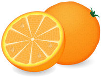 Ripe orange on a white background Royalty Free Stock Photo