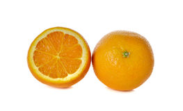 Ripe orange on white Stock Photos