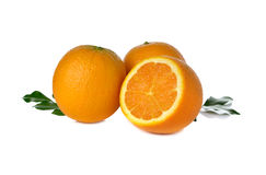 Ripe orange on white Royalty Free Stock Photos