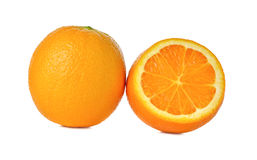 Ripe orange on white background royalty free stock photos