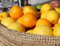 Ripe Orange and yellow lemons Stock Photo
