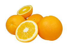 Ripe oranges. With another orange sliced isolated in white royalty free stock images
