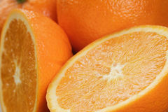 Ripe oranges background. Close up photo of fruits Royalty Free Stock Images