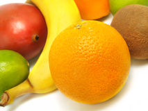 Ripe Oranges, Banana, Mango, Kiwi, Limes Royalty Free Stock Photography